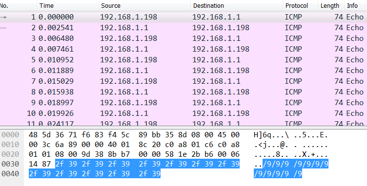 Wireshark screencap